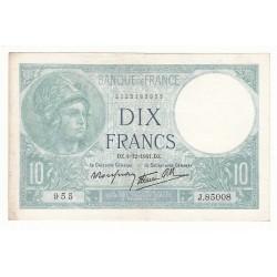 10 FRANCS MINERVE 04-12-1941 TTB+ Fayette 7.30.