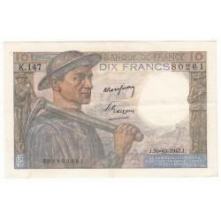 10 FRANCS MINEUR 30-10-1947 TTB+ Fayette 8.18