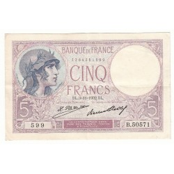 5 FRANCS VIOLET 03-11-1932 TTB Fayette 3.16
