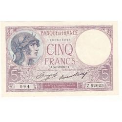 5 FRANCS VIOLET 05-01-1933 SPL Fayette 3.17