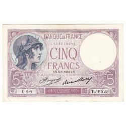 5 FRANCS VIOLET 06-07-1933 SPL Fayette 3.17