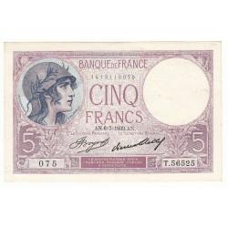 5 FRANCS VIOLET 06-07-1933 SPL+ Fayette 3.17