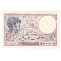 5 FRANCS VIOLET 27-07-1933 P/NEUF Fayette 3.17