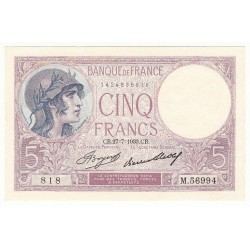 5 FRANCS VIOLET 27-07-1933 NEUF Fayette 3.17
