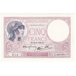 5 FRANCS VIOLET 14-09-1939 NEUF Fayette 4.8