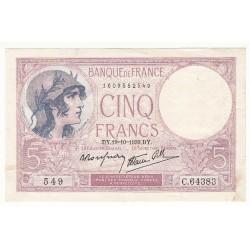 5 FRANCS VIOLET 19-10-1939 SPL Fayette 4.12