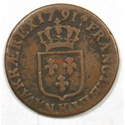 DEMI SOL de LOUIS XVI 1791 K Bordeaux