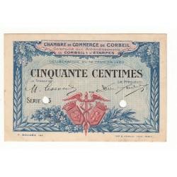 SPECIMEN 50 CENTIMES 1920 CHAMBRE DE COMMERCE DE CORBEIL