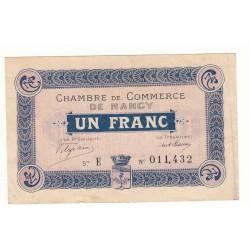 BILLET DE NECESSITE 1 FRANC 1915 CHAMBRE DE COMMERCE DE NANCY