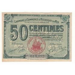BILLET DE NECESSITE 50 CENTIMES 1920 CHAMBRE DE COMMERCE DE ROCHEFORT SUR MER