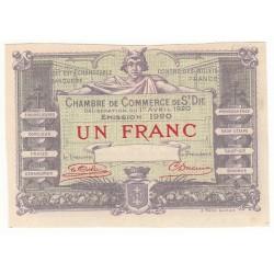 BILLET DE NECESSITE SPECIMEN 1 FRANC 1920 CHAMBRE DE COMMERCE DE SAINT DIE