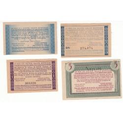 LOT BONS DE SOLIDARITE 50 CENTIMES A 5 FRANCS 1940 1944