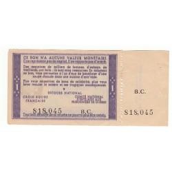 1 FRANC BON DE SOLIDARITE PETAIN AVEC SOUCHE 1940 1944