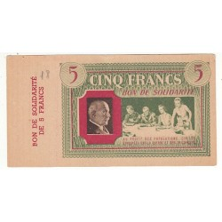 5 FRANCS BON DE SOLIDARITE PETAIN AVEC SOUCHE 1940 1944