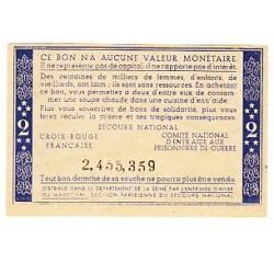 2 FRANCS BON DE SOLIDARITE PETAIN SANS LETTRE 1940 1944