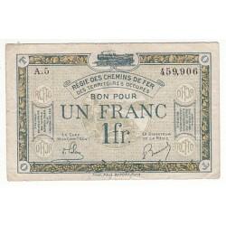 BON POUR 1 FRANC REGIE DES CHEMINS DE FER