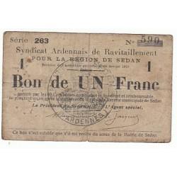 BON DE 1 FRANC SYNDICAT ARDENNAIS DE RAVITAILLEMENT REGION DE SEDAN