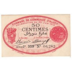 50 CENTIMES CHAMBRE DE COMMERCE ALGER 1915