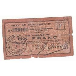 1 FRANC BON MUNICIPAL SAINT QUENTIN 1915