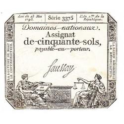 ASSIGNAT DE 50 SOLS 23 MAI 1793 AN II Série 3375