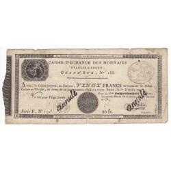 CAISSE D'ECHANGE DE ROUEN 20 FRANCS 1 FRIMAIRE AN 10 TB