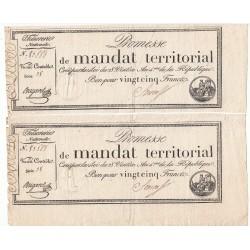 LOT 4 BONS PROMESSE DE MANDAT TERRITORIAL 25 Francs 28 ventôse AN IV