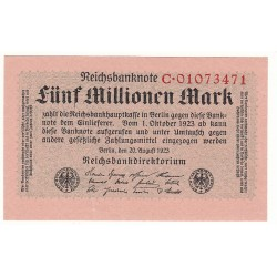 5 Millionen Mark 20 Août 1923 SUP+