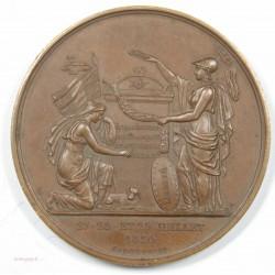 Médaille Souvenir du 27-28-29 juillet 1830 CAQUE FECIT BRONZE 51mm