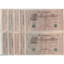 LOT DE 21 REICHSBANKNOTE 1 000  MARK 1910