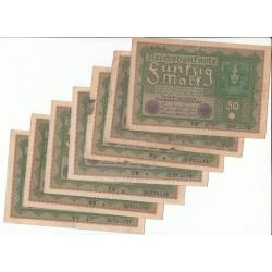 LOT DE 20 REICHSBANKNOTE 50  MARK 1919