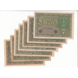 LOT DE 20 REICHSBANKNOTE 50 MARK 1919 Reihe 1
