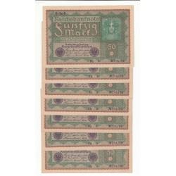 LOT DE 21 REICHSBANKNOTE 50 MARK 1919 Reihe 1 2 3