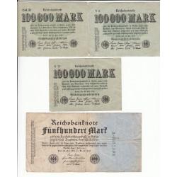 LOT DE 21 REICHSBANKNOTE 100000-500000 MARK 1923