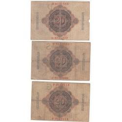 LOT DE 3 REICHSBANKNOTE 20 MARK 1908-1909-1910