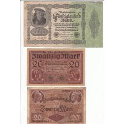LOT DE 11 REICHSBANKNOTE 50000 MARK 1922 et divers