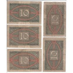 LOT DE 18 REICHSBANKNOTE 10 MARK 1920
