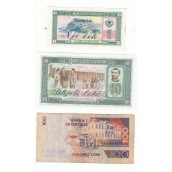 ALBANIE LOT 3 BILLETS 1 LEK 10 LEKE 100 LEKE 1965 1976