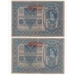 AUTRICHE LOT de 2 BILLETS 1000 KRONEN 1902