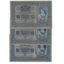 AUTRICHE LOT DE 10 BILLETS 1000 KRONEN 1902