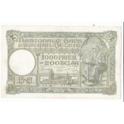 BELGIQUE 1000 FRANCS – 200 BELGAS 1942