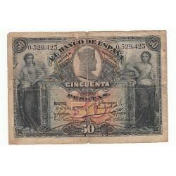 ESPAGNE 50 PESETAS 15 JUILLET 1907