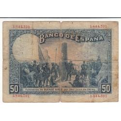ESPAGNE 50 PESETAS 17 MAI 1927 TAMPON