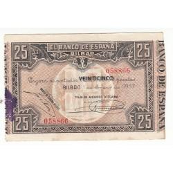 ESPAGNE 25 PESETAS 1937