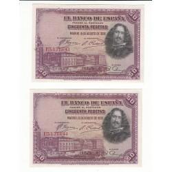 ESPAGNE LOT 2 BILLETS 50 PESETAS 1928 n° Suivis