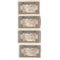 ESPAGNE LOT 4 BILLETS 10 PESETAS 1937 Signatures différentes
