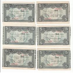 ESPAGNE LOT 6 BILLETS 5 PESETAS 1937 Signatures différentes