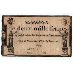 Assignat, 2000 Francs, 18 Nivôse de l'An 3 de la République, Signature Coipel