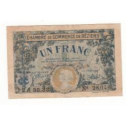 1 Franc Chambre de Commerce Béziers 1922 TTB