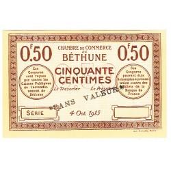 50 Centimes Chambre de Commerce Béthune 1915 SPECIMEN NEUF