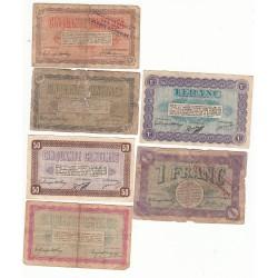 Lot de 6 Billets Chambre de Commerce de Belfort